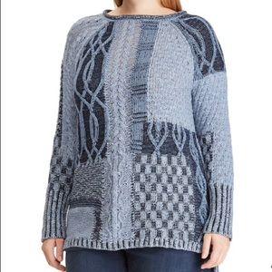 chaps leaf stitch women long sleeve sweater indigo